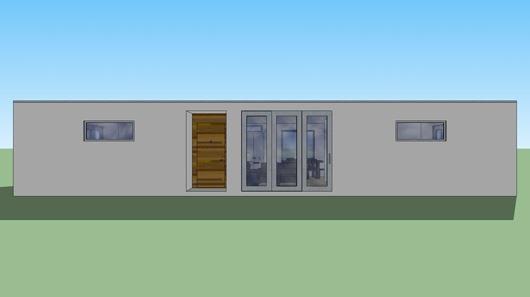 Fachada y plano arquitect nico de casa habitaci n estilo for Casa minimalista un nivel