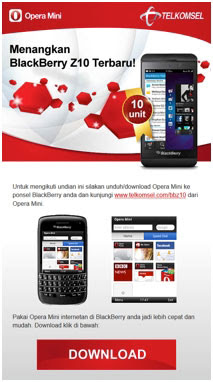 Contoh halaman download Opera Mini Telkomsel