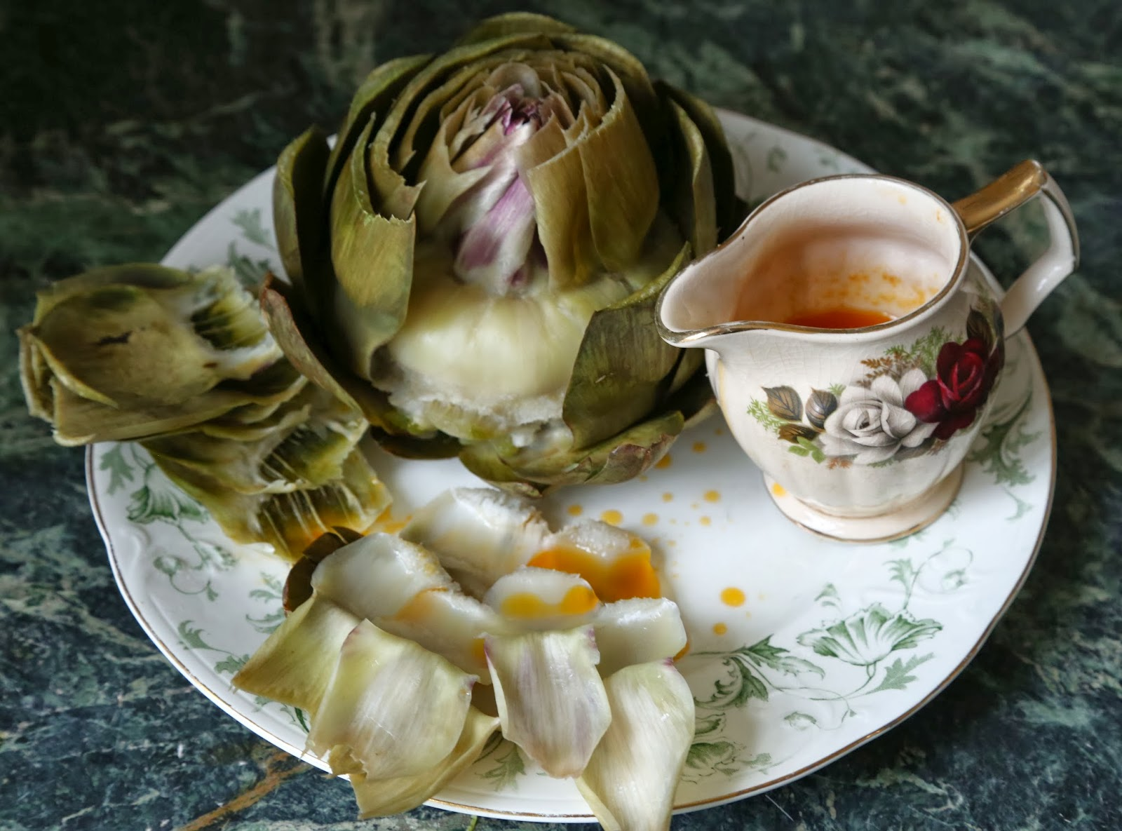 Steamed artichoke with chipotle, butter and lime dip