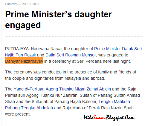 nursultan nazarbayev and najib razak Putrajaya - the daughter of malaysian prime minister najib razak and datin seri rosmah mansor will be getting married today, a spokesman for the leader's family for the engagement and wedding ceremonies said read more at he is a nephew of kazakhstan president nursultan nazarbayev.