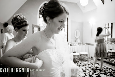 Bride getting dressed in Bridal Room at Chase Court in Baltimore