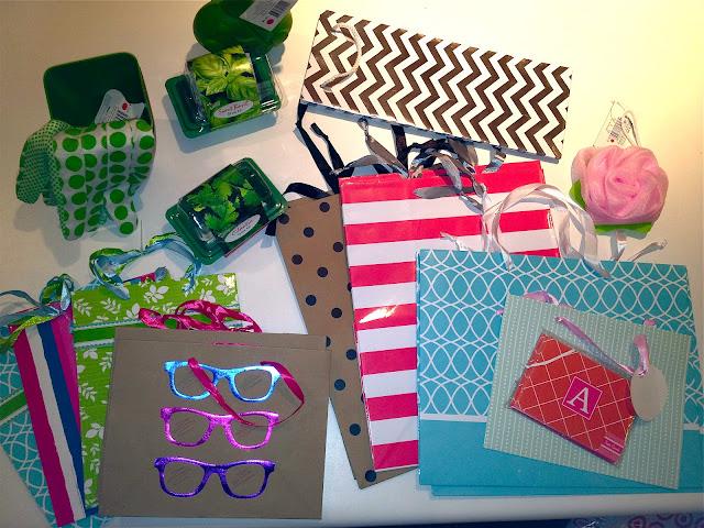 Target dollar gift bags, basil, cilantro, planter deals