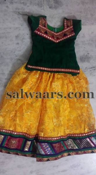 Yellow Bottle Green Lehenga
