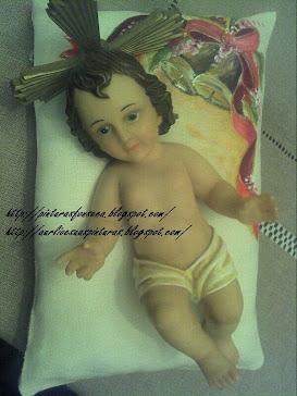 Almofadinha para menino Jesus (pintada em Linho)
