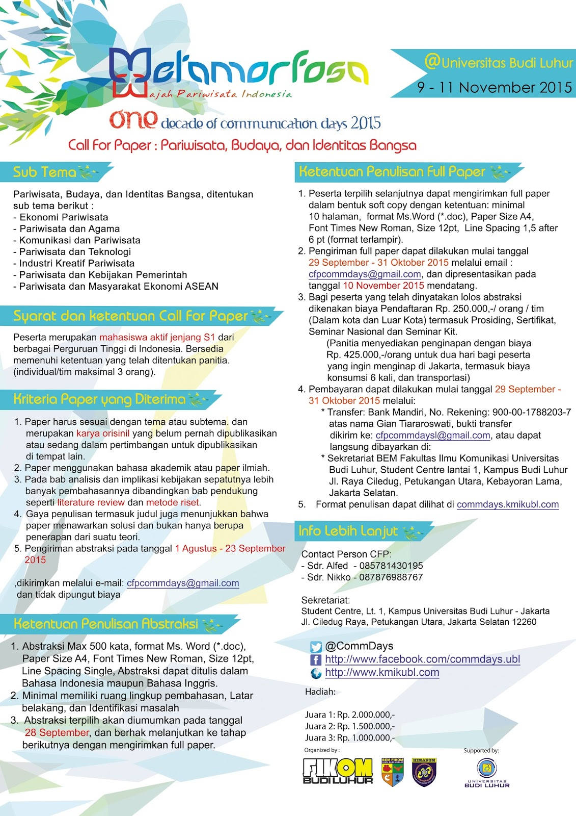 My Online Diary Lomba Call For Paper Metamorfosa
