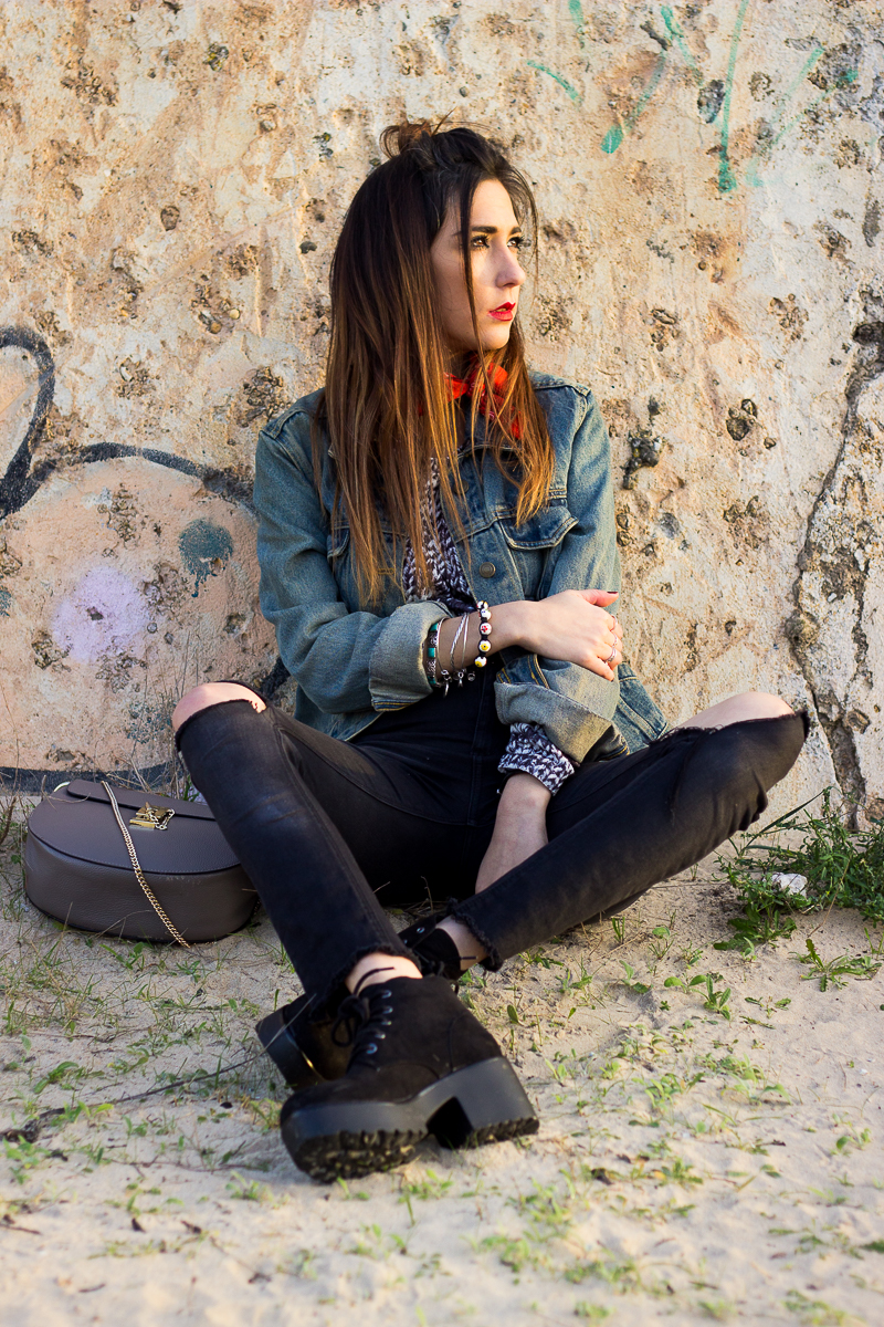 casual look with denim jacket