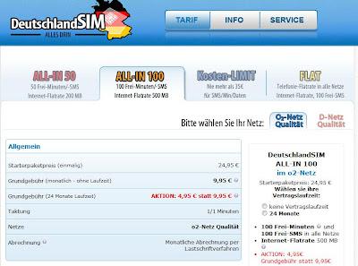 Deutschland-SIM: 100 Freiminuten, 100 Frei-SMS, 500 GB Surfflat für 4,95 Euro im Monat