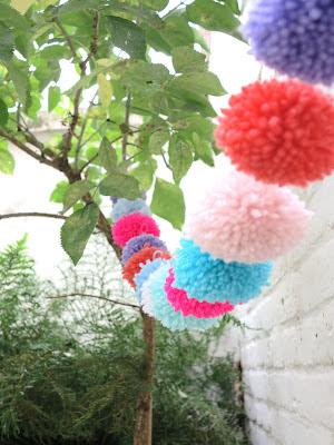 ByHaafner, pompons, bunting, pastels, neon pink, urban garden, container garden