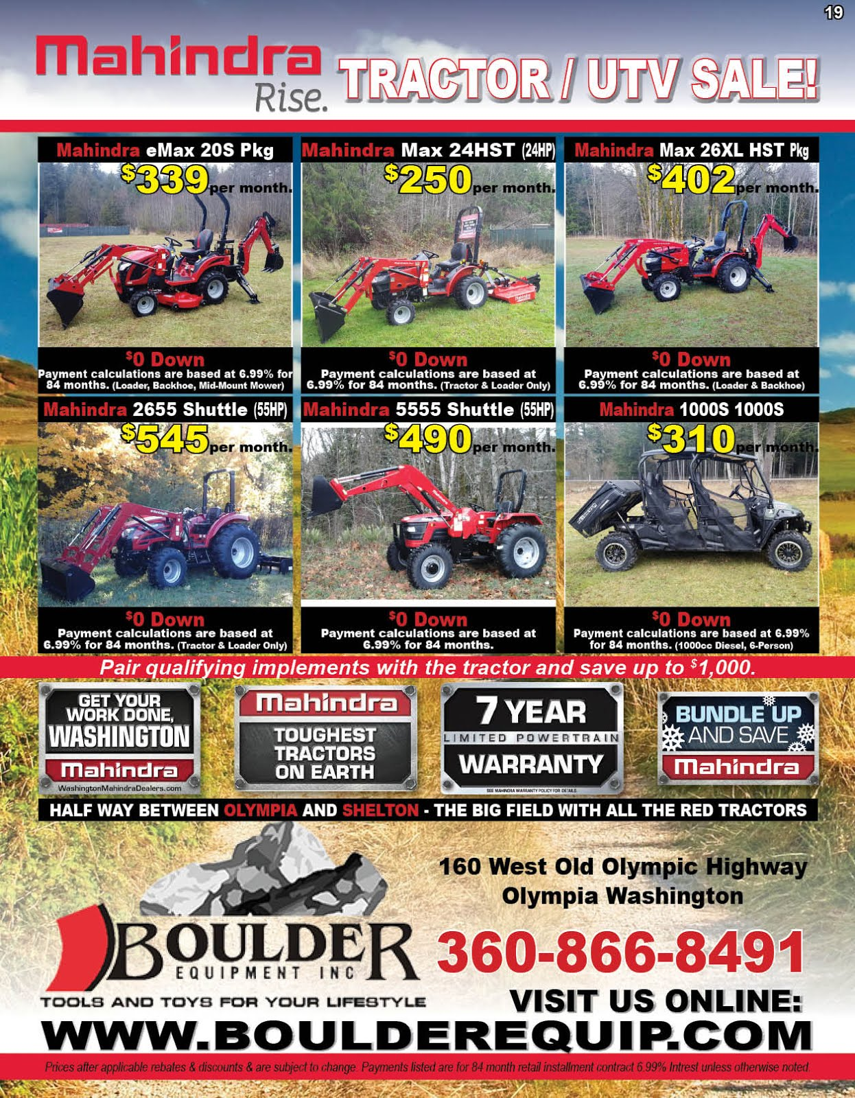 Boulder Equipment New Mahindra Tractor/UTV Sale!!