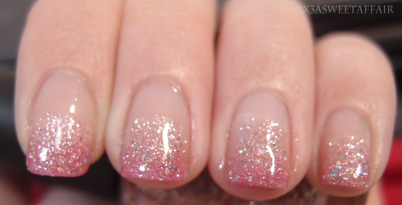 x3asweetaffair naturally nails pink ombre glitter