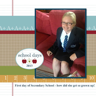 Back to School Digital Scrapbook Page using one of the free templates in Stampin' Up!'s My Digital Studio (MDS) software.  Get your free 30 Day trial from www.bekka.stampinup.net