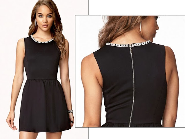 Black fit and flare dress, rhinestone collar, Forever21