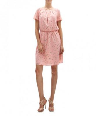 koton pembe elbise, desenli elbise, bol kesim, şifon, günlük elbise modeli 2013