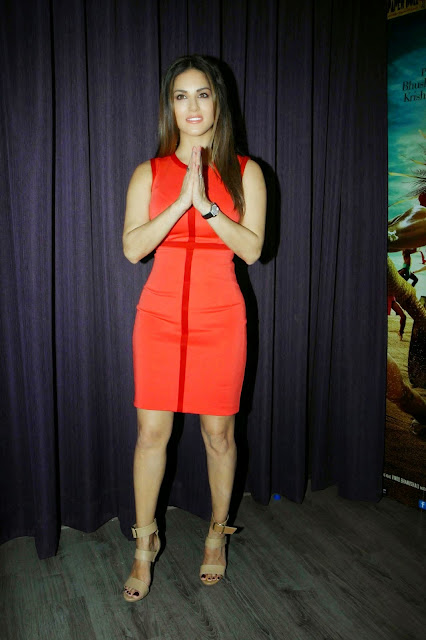 Sunny Leone Looks Super Sexy In a Figure Hugging Red Dress At Bollywood Film 'Ek Paheli Leela' Press Meet