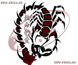 scorpion tattoo / rose tattoo / chinese writing tattoo