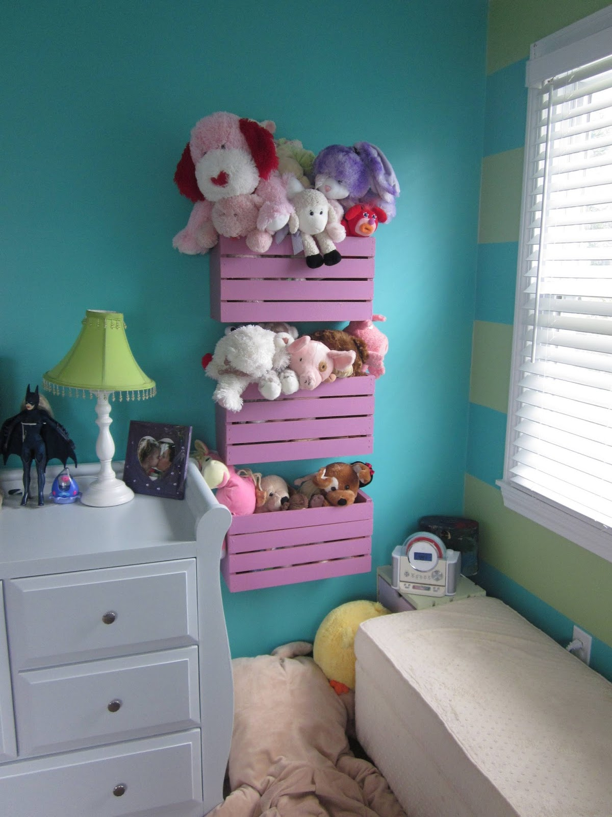 Elegant Crates Mounted On The Wall As Storage Bins For Stuffed Animals