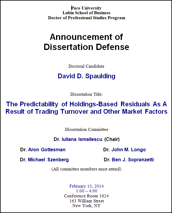 Doctoral thesis defence