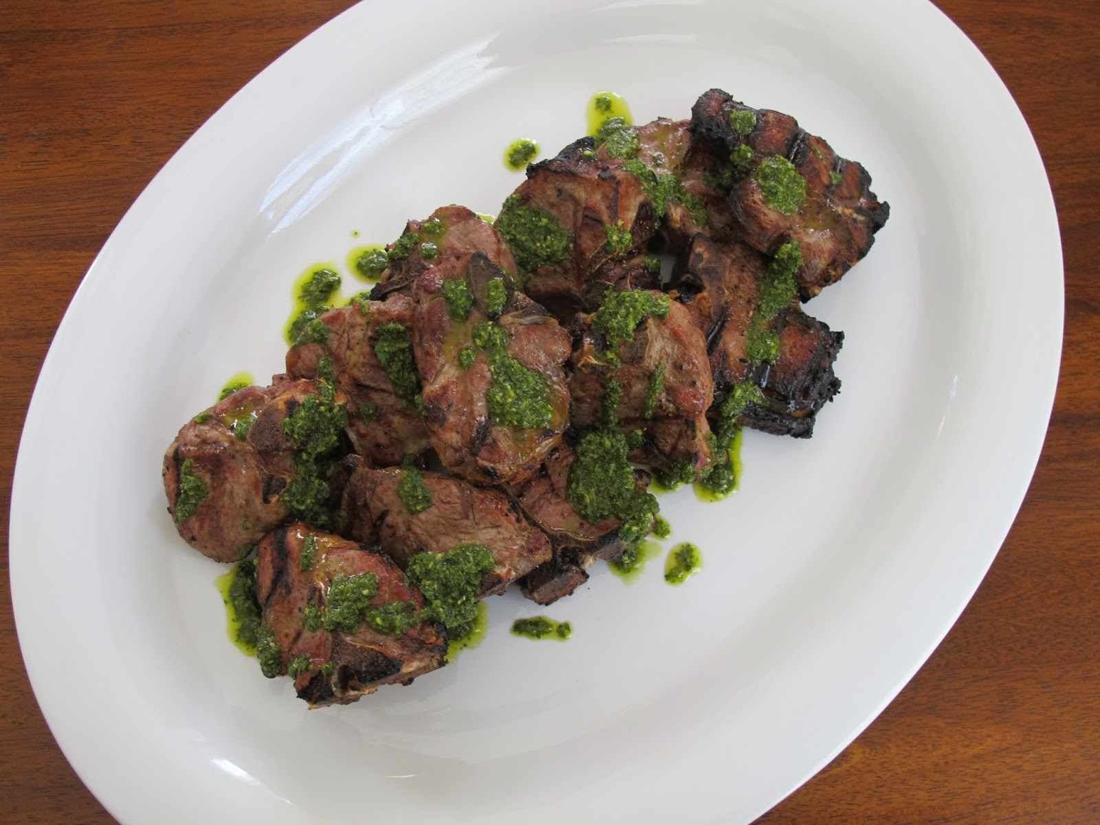 Grilled Lamb Loin Chops with Mint Sauce