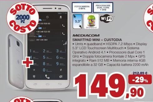 Se cercate uno smartphone dal grande schermo e con il supporto al dual sim potreste interessarvi al Mediacom SmartPad Mini Mobile in sottocsoto