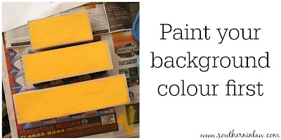 Paint your background colour first - DIY Holiday Decor Blocks Project