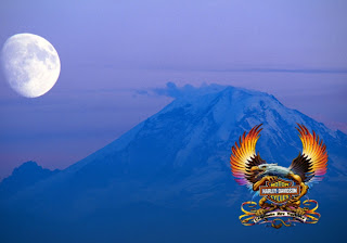 Harley Davidson Free Wallpapers Fire Bird Logo in Ascent Moon background