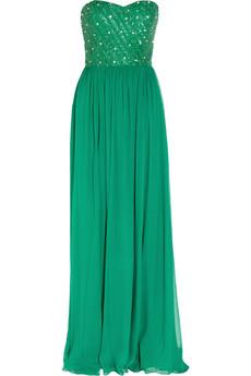 Lucinda silk-chiffon strapless gown