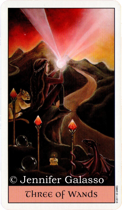 Crystal Visions Tarot, Three of Wands, Jennifer Galasso