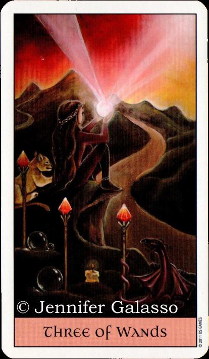 Crystal Visions Tarot, Three of Wands, Jennifer Galasso