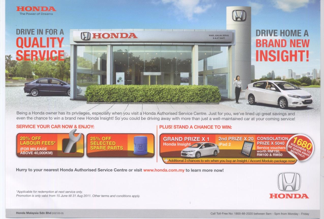 Being A Honda Owner Has Its Privileges Especially When You Visit Authorised Service Centre Yong Ming Motor Sdn Bhd Johor Bahru