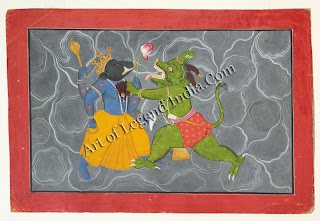 Varaha fighting Hiranyaksha