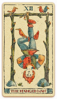 The Hanged Man card - Colored illustration - In the spirit of the Marseille tarot - major arcana - design and illustration by Cesare Asaro - Curio & Co. (Curio and Co. OG - www.curioandco.com)