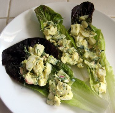 egg salad in lettuce boats