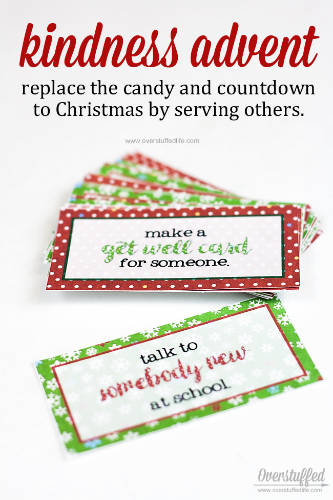 Print out these cute advent cards to put into your advent calendar. Each day has a way to be kind or serve someone on it. Great way to keep the Christmas spirit! #overstuffedlife