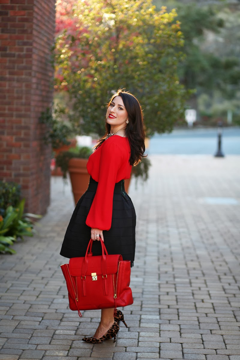 red-pashli-satchel-vince-camuto-red-shirt-nordstrom-holiday-style-new-years-eve-fashion-san-diego-blogger-king-and-kind-3.1-phillip-lim-anthropologie-full-skirt