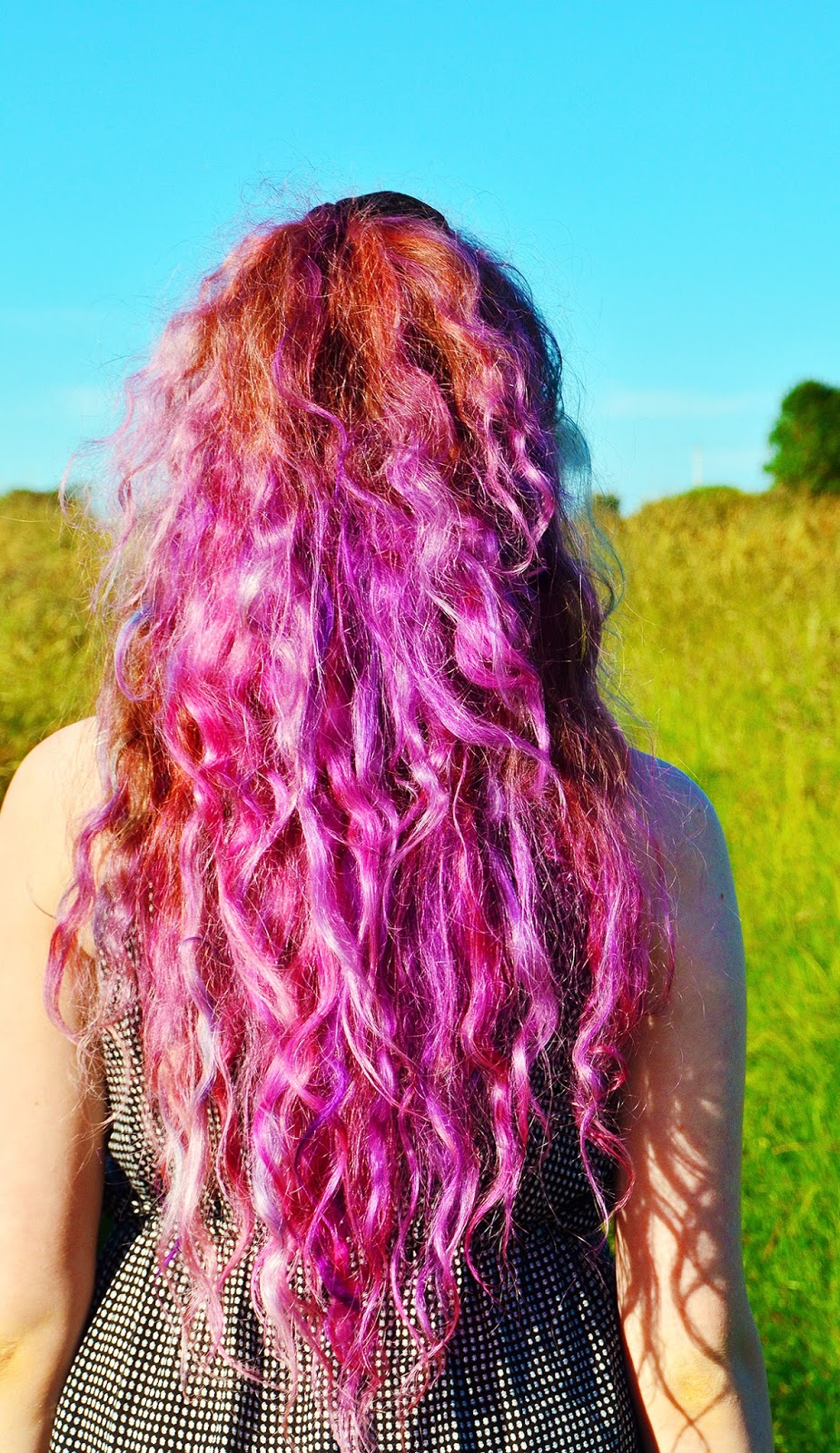 pink and purple sand art hair