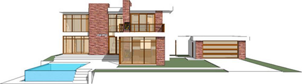 Planos y fachada de casa habitaci n moderna de 2 niveles for Casa moderna 3 parte 2