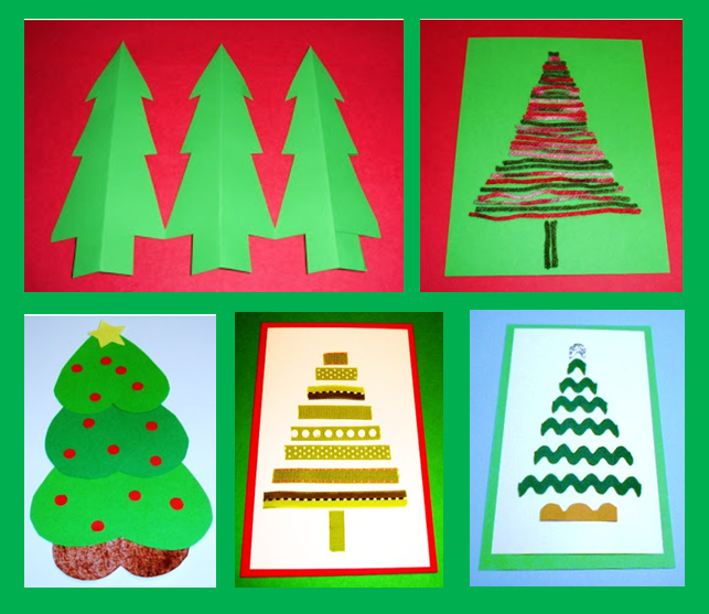 Learning ideas grades k 8 5 fun inexpensive christmas for Christmas card christmas tree craft