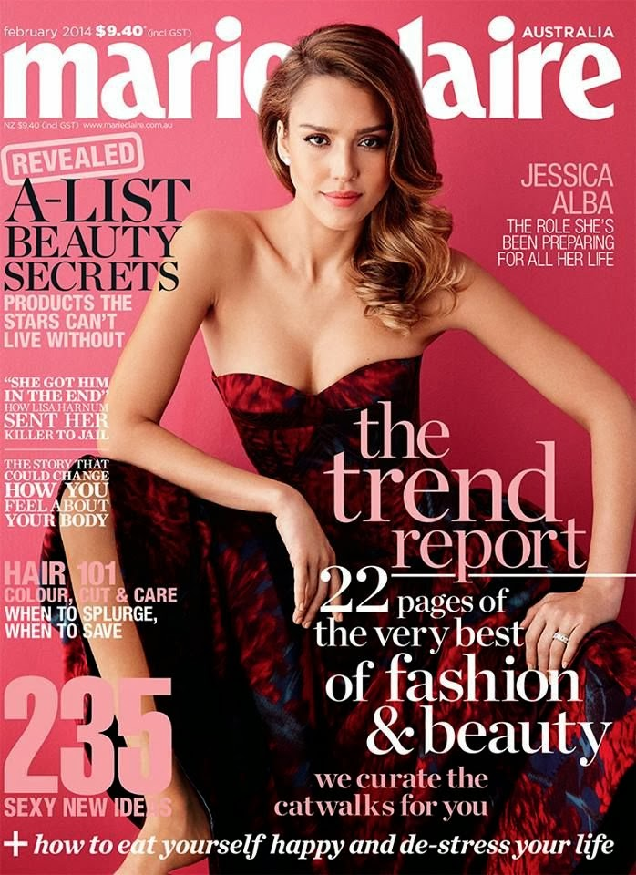 Magazine Cover : Jessica Alba Magazine Photoshoot Pics on Marie Claire Magazine Australia February 2014 Issue