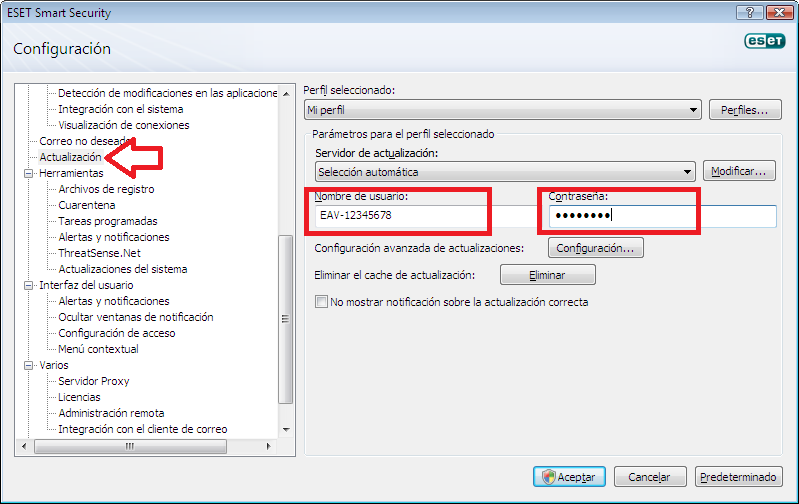 Actualizar Usuario Y Contrasena Para Eset Smart Security 4 Para Enero