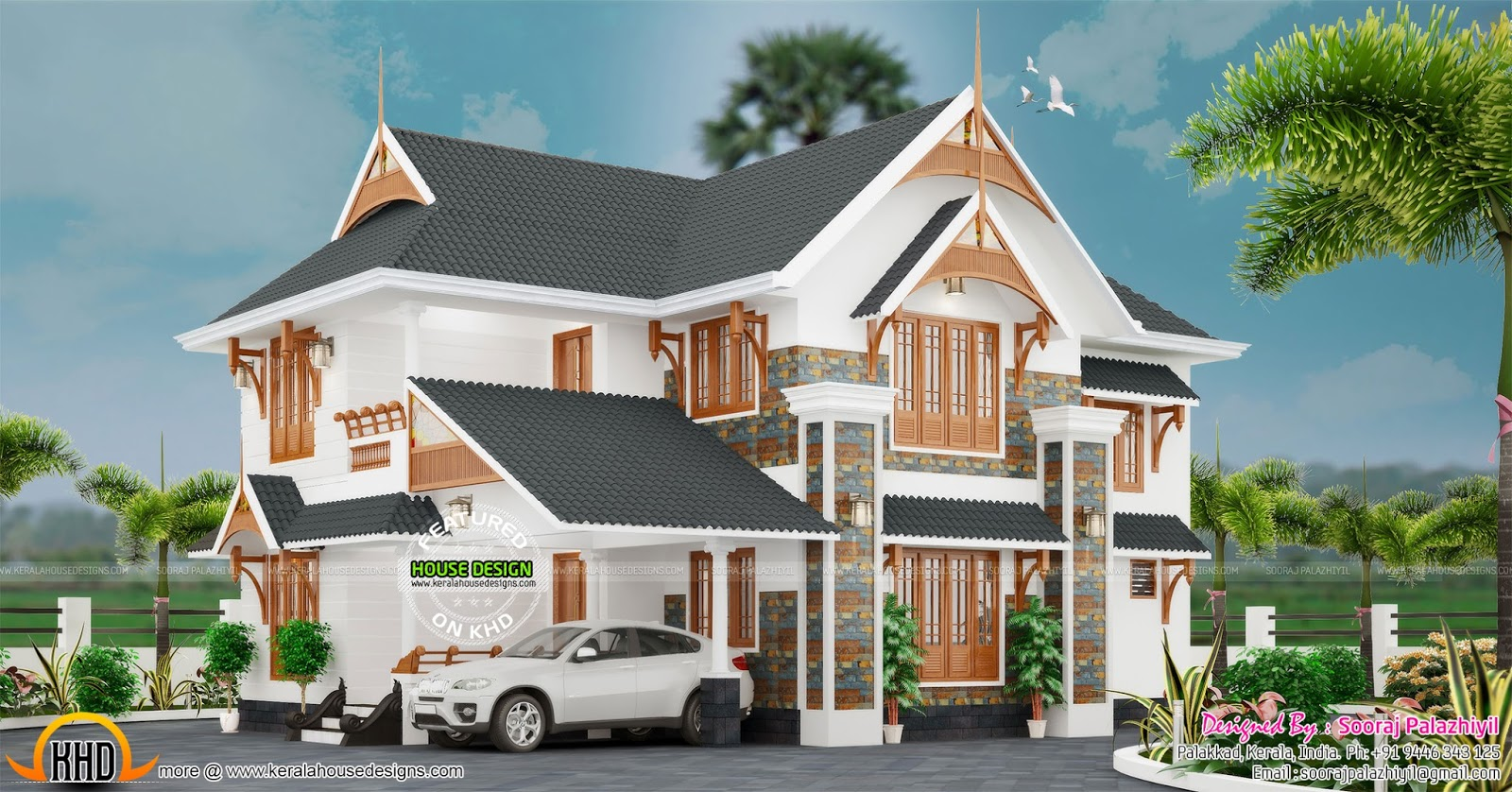 Beautiful elegant home design kerala home design and for Elegant house plans photos