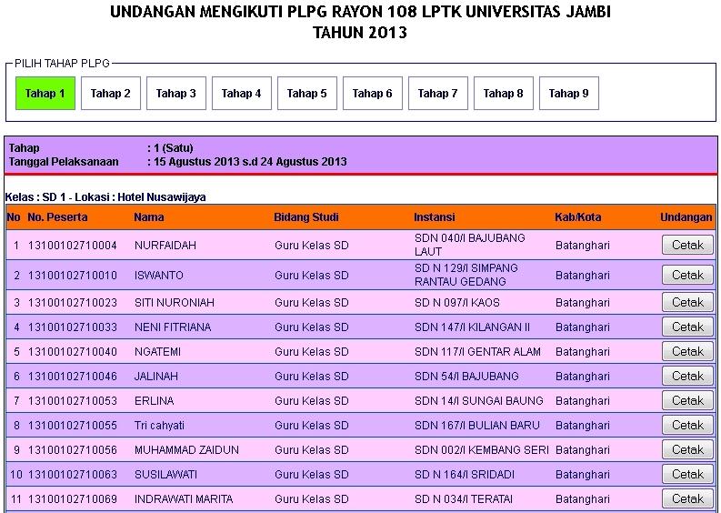 Jadwal Plpg 2013 Terbaru