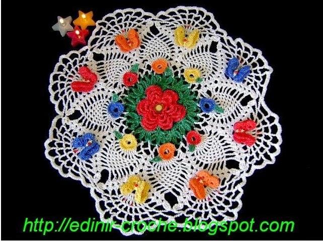 dvd toalha em croche com 8 borboletas e 8 mini flores em aprender croche com edinir-croche
