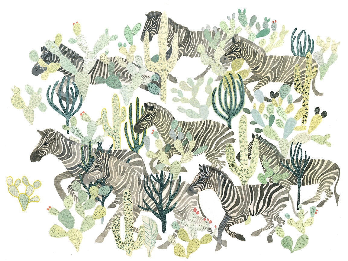 Zebra Herd and Cactus by Michelle Morin