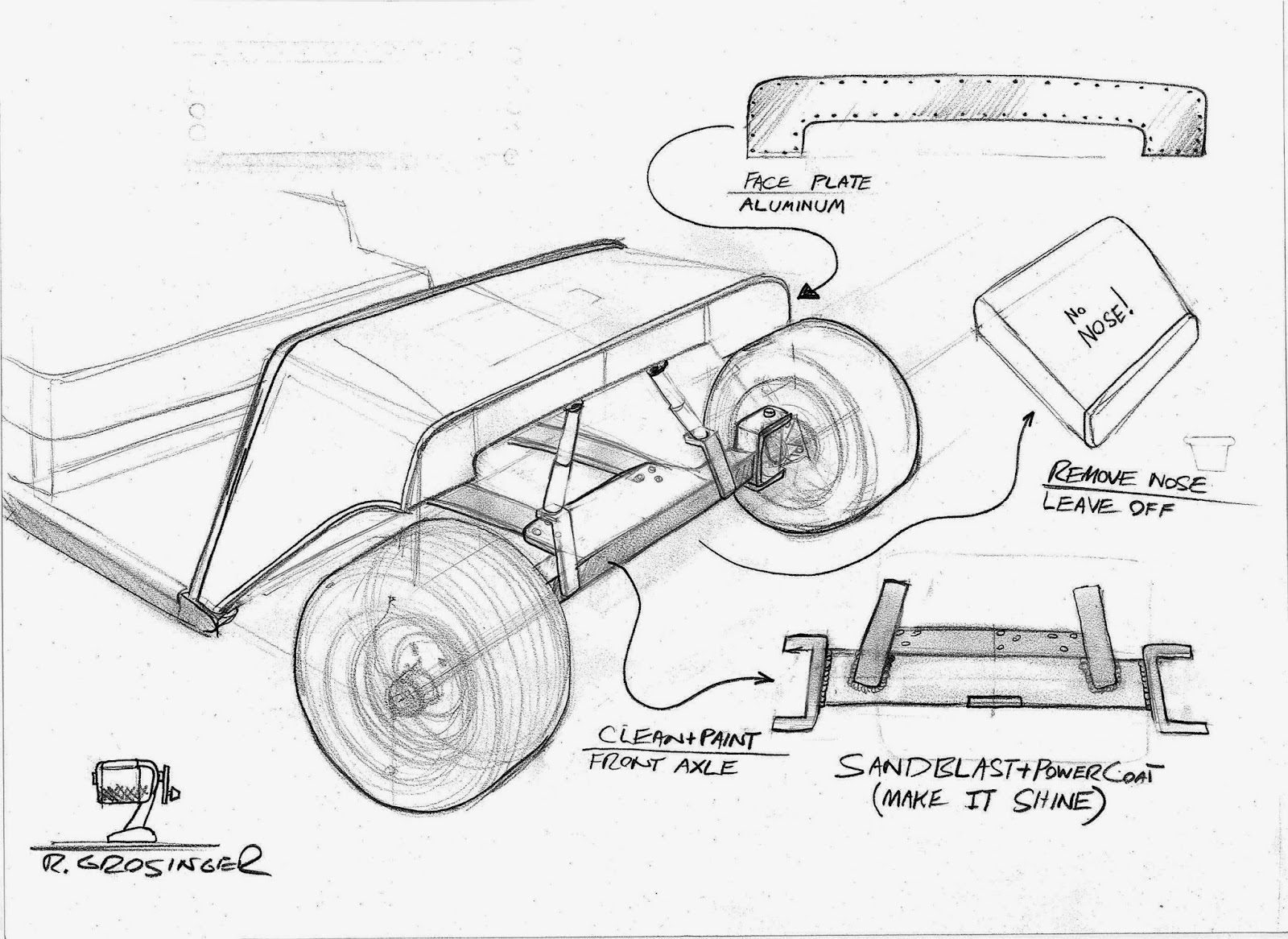 Ron grosinger 39 s vehicle design electric wheelie golf cart for Golf cart plans