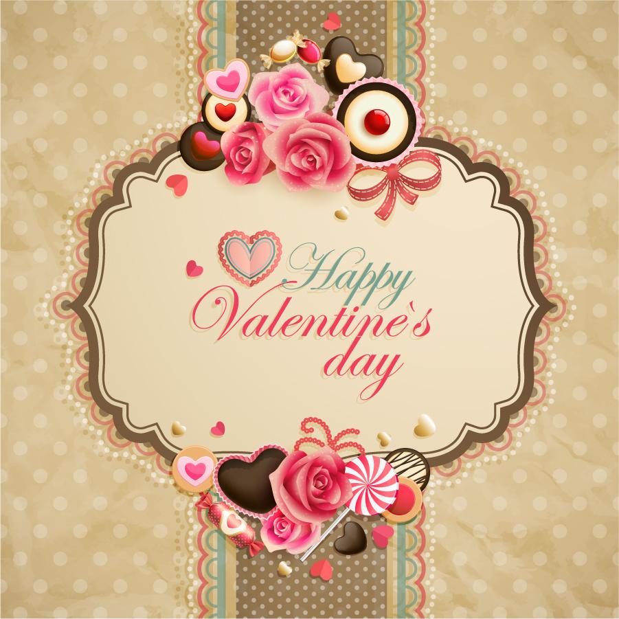 レースの帯を花やハートで飾るバレンタインデー背景 Classic pattern background イラスト素材