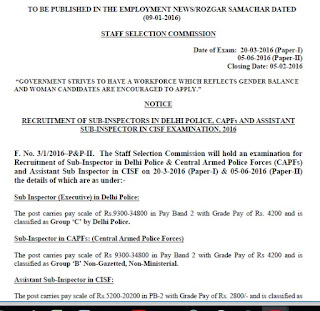 SSC CPO Notification 2016