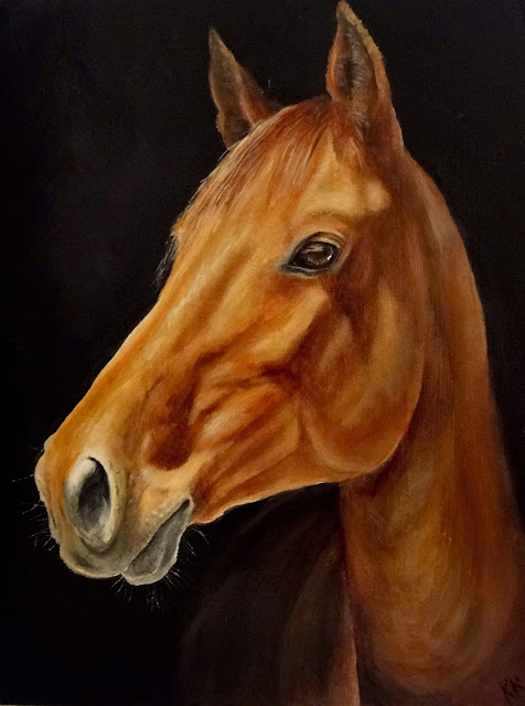 oil painting of chestnut horse