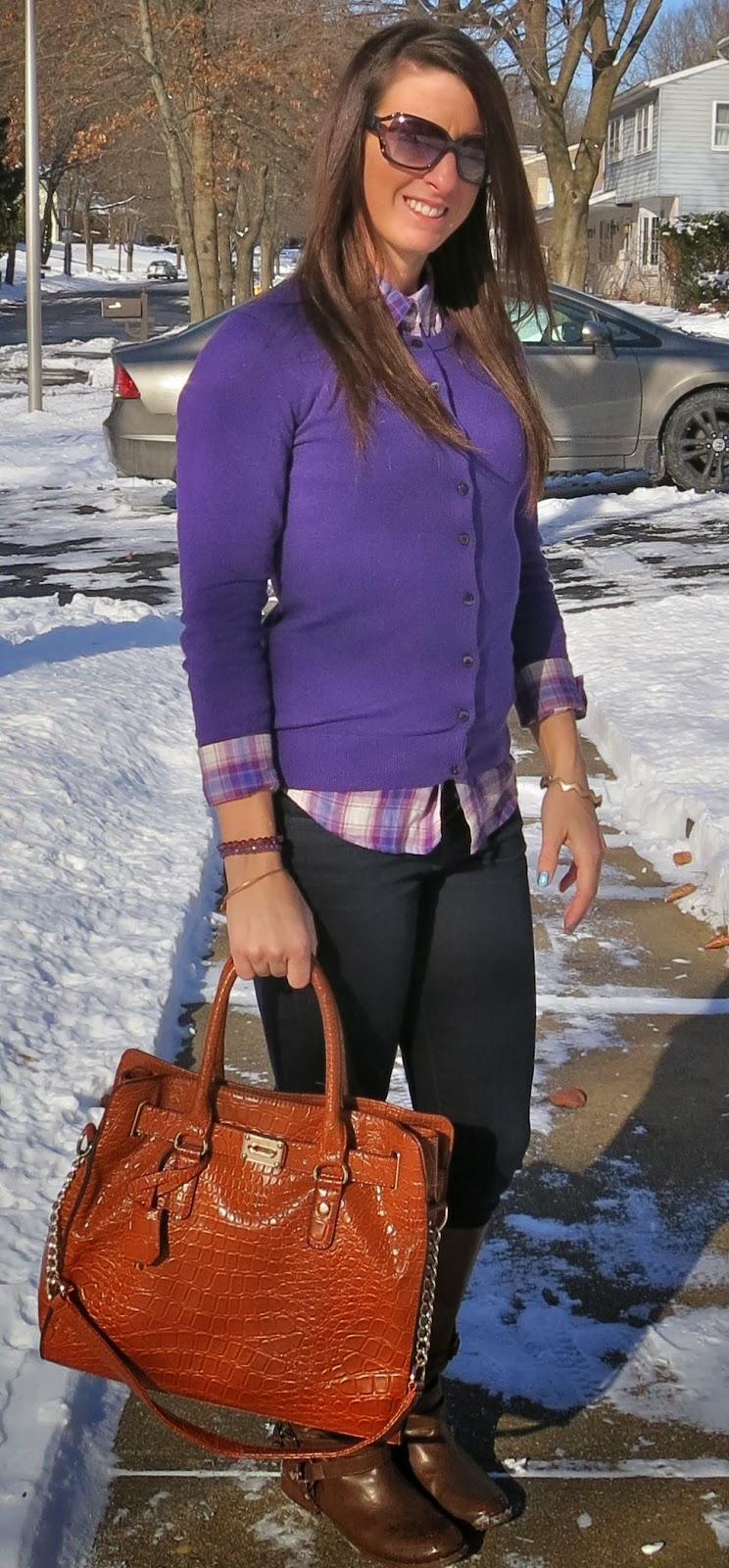 Boots, Fashion, layers, michael kors, ootd, Outfit Ideas, outfit of the day, Outfits, plaid, purple, what i wore, winter fashion,