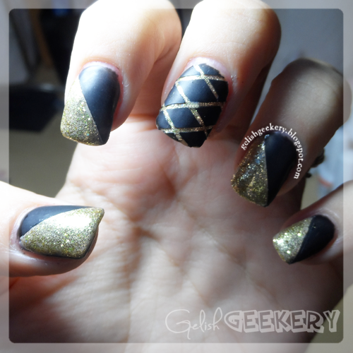 Gelish Black Matte and Gold Glitter French