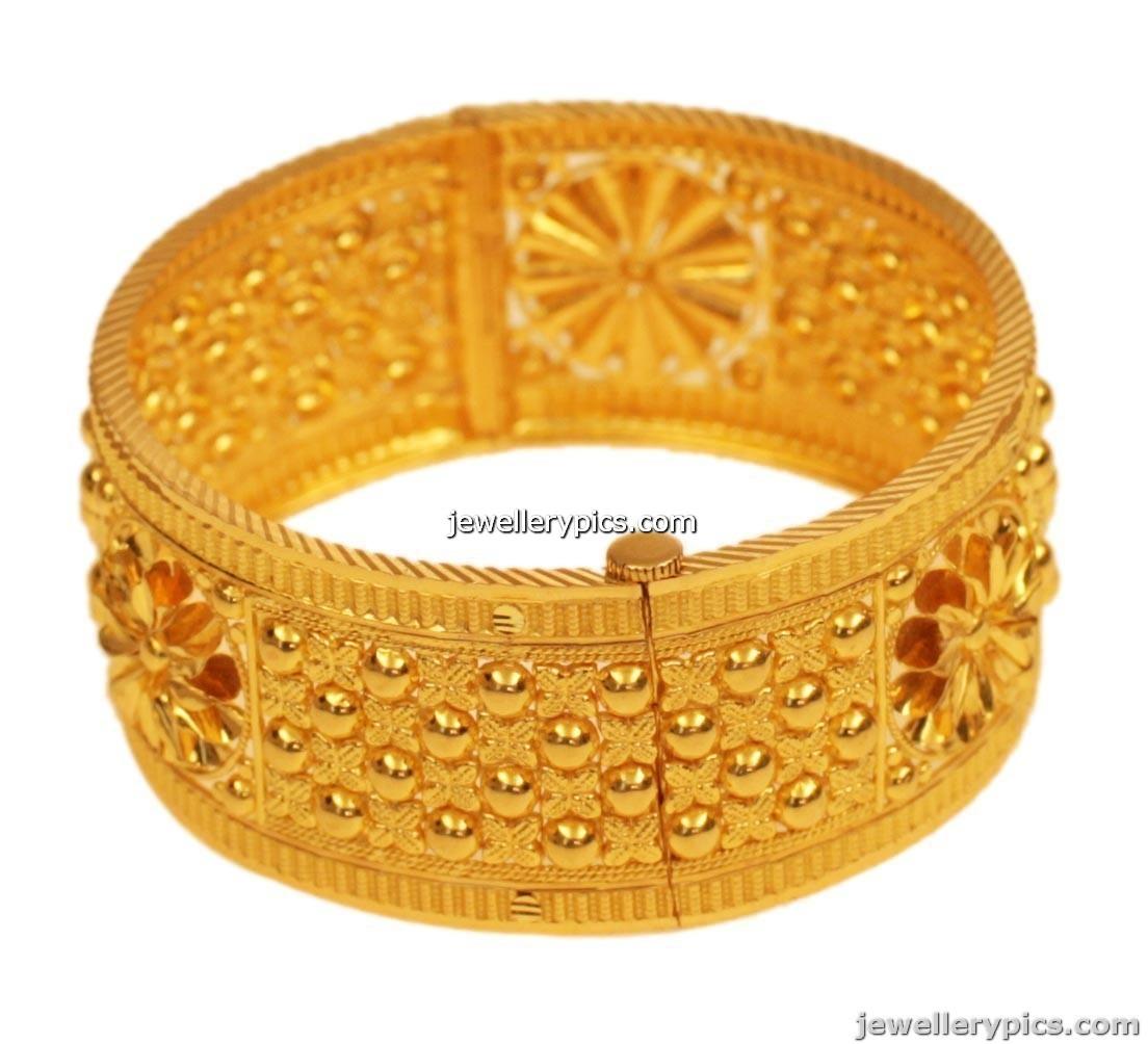 Gold chur or broad bangle | kada | single designs - Latest ...